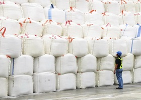 Supervisor inspecting huge sacks of sugar in a warehouse.
